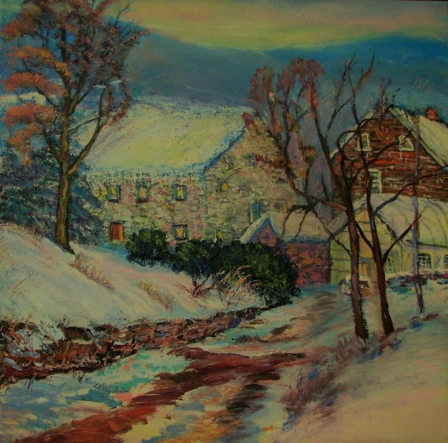 """""""A country Christmas Homecoming""""  36"""" x 36"""" oil on canvas .jpeg"""